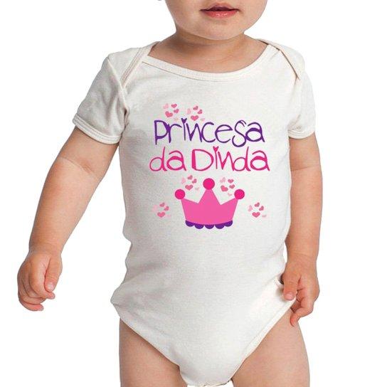 d627a2443 Body Bebe Frases Princesa Da Dinda Madrinha Meninas Criativa Urbana - Branco