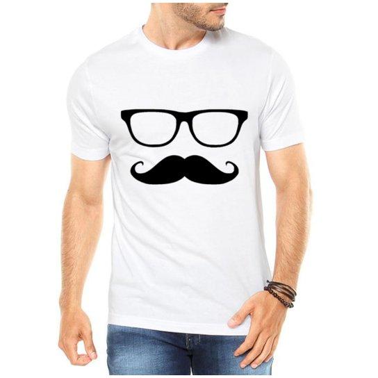 2a22d6c5a Camiseta Criativa Urbana Mustache Engraçadas Divertidas - Branco ...