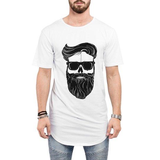 Camiseta Criativa Urbana Long Line Oversized Estilo Barbearia Homem Barba  Óculos Caveira - Branco e5656588229