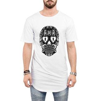 637d5148047d Camiseta Criativa Urbana Long Line Oversized Caveira Mexicana Cartas
