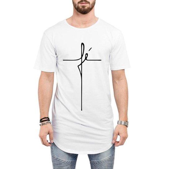 950a63648 Camiseta Criativa Urbana Long Line Oversized Fé Religiosa Masculina - Branco