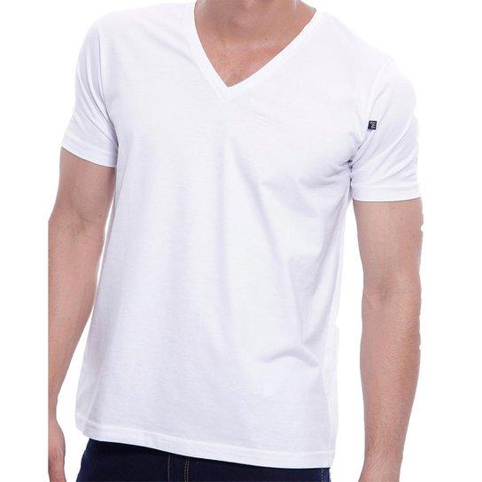 b93c88ec72 Camiseta Masculina Oitavo Ato Bordado Frontal Decote V Lisa - Branco ...