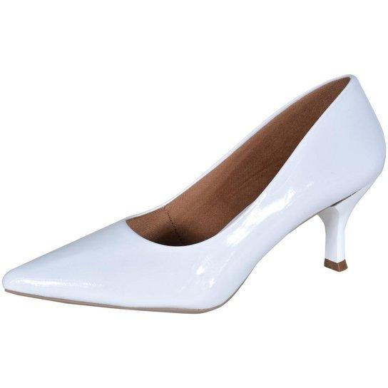 e5996bef19 Scarpin Factor Fashion Salto Baixo - Branco - Compre Agora