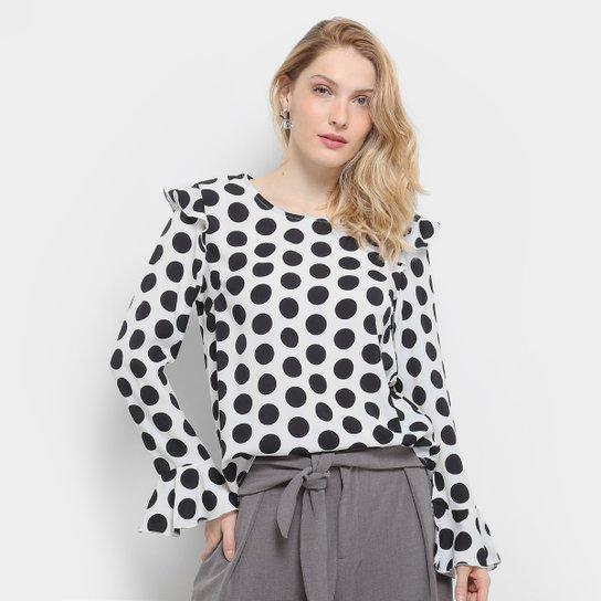 ac6005d7db Blusa Lily Fashion Poá Manga Longa Feminina - Compre Agora