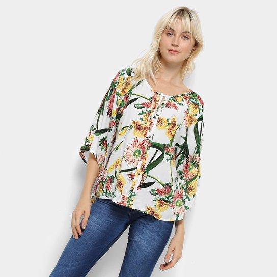 a776e9007c663 Camisa Top Moda Manga Curta Babado Estampa Floral Feminina - Branco ...