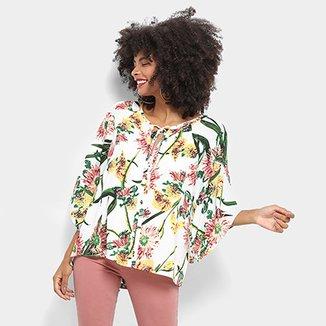 cf788034bb Blusa Top Moda Floral Amarração Feminina