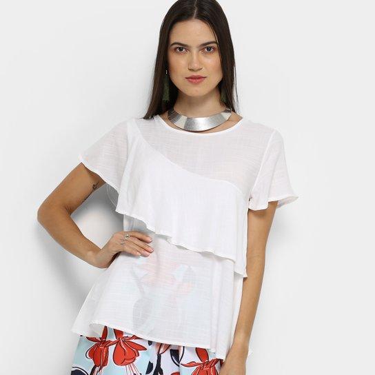 8181c6358 Blusa Acrobat Babado Feminina - Branco - Compre Agora