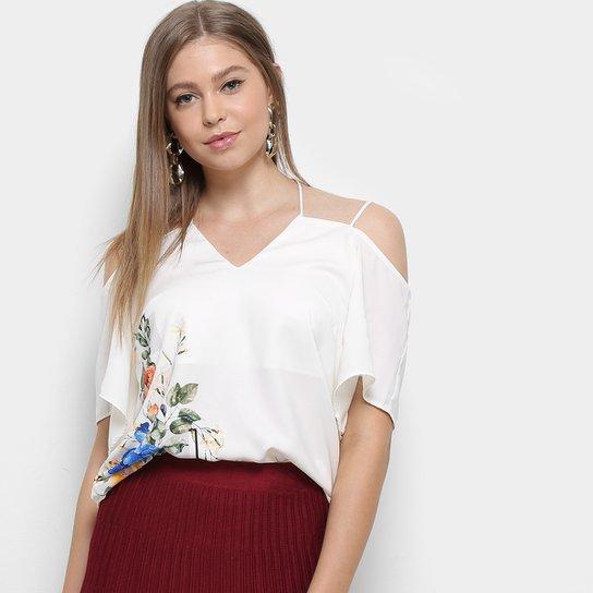 c25fe5f2c Blusa Dimy Manga Longa Floral Recortes Feminina - Creme - Compre ...
