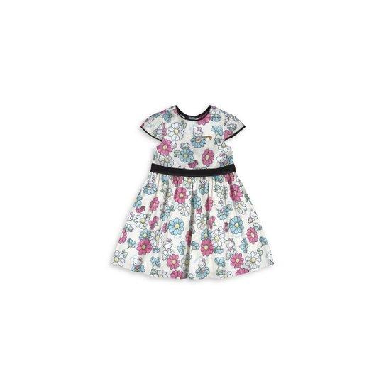 Vestido Infantil Hello Kitty Com Estampa Floral - Branco - Compre ... acd4659b3c9