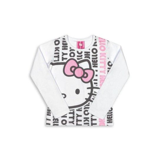 0ce2b0ef1 Blusa Bebê Manga Longa Cotton Hello Kitty Feminina - Branco