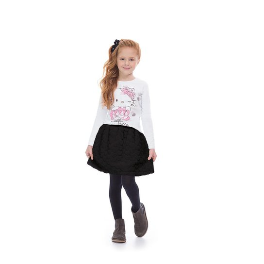 f7e842cfd Blusa Infantil Manga Longa Cotton Hello Kitty Feminina - Branco ...