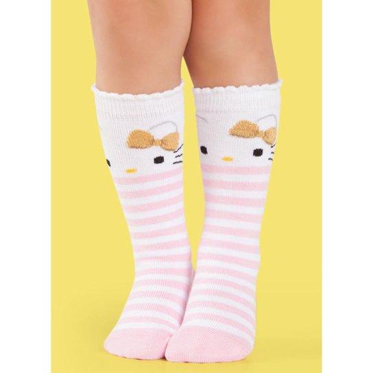 288ff8015 Meia Bebê 3 4 Desenhada Hello Kitty Puket Feminina - Branco