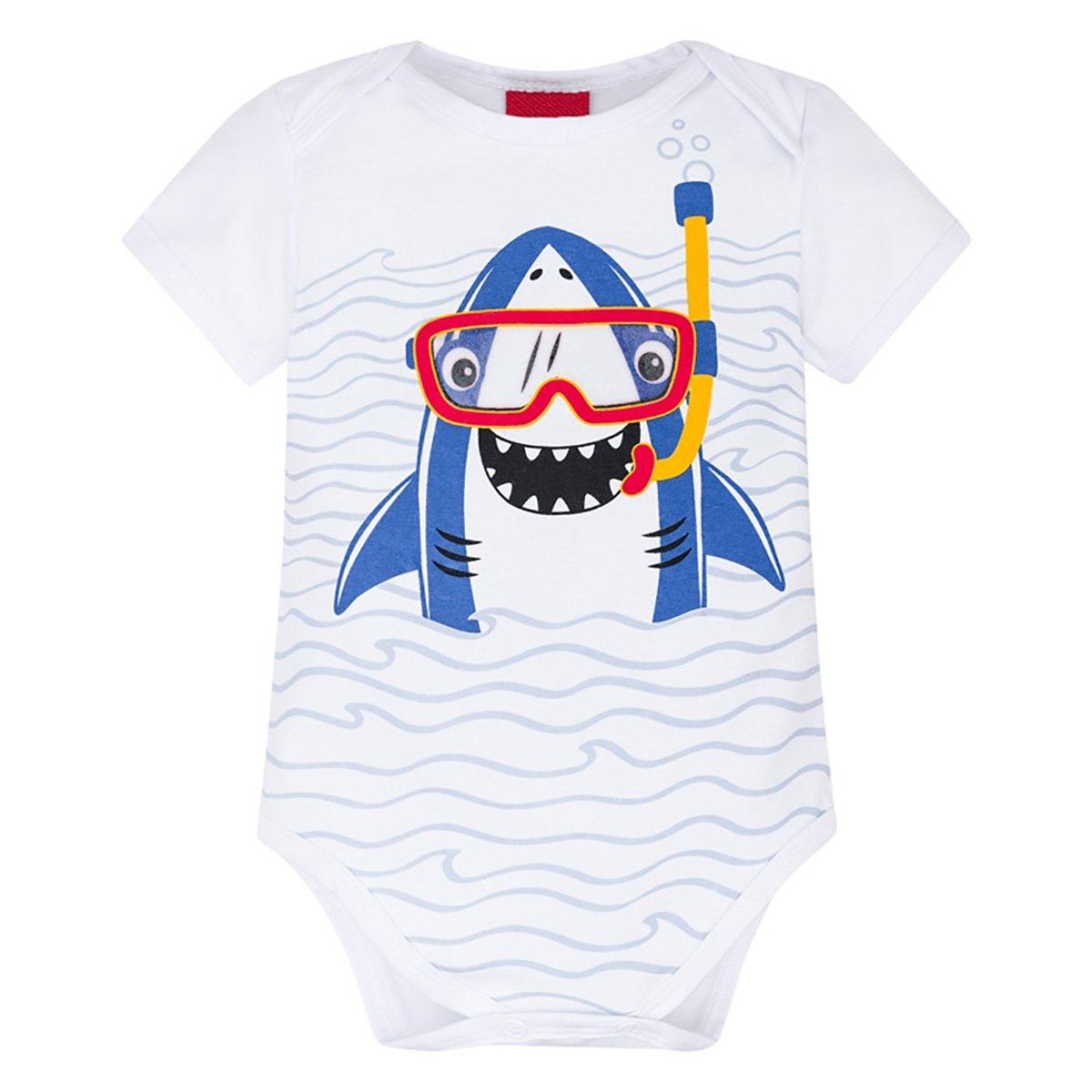 Body Bebê Kyly Cotton Shark Masculino