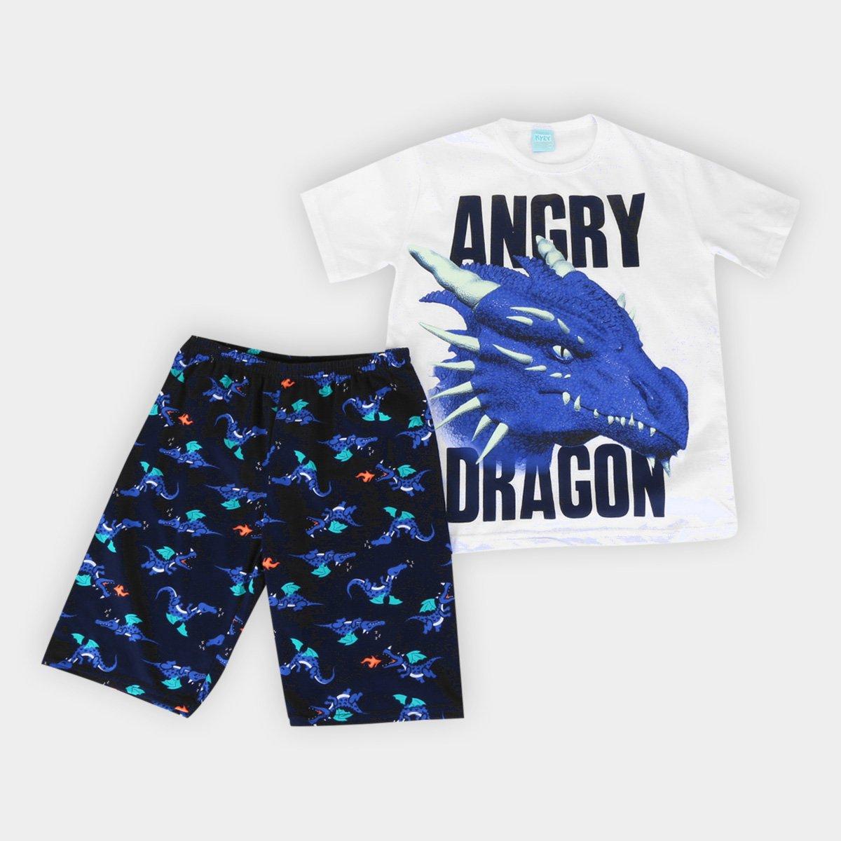 Pijama Infantil Kyly Dragão Brilha no Escuro Masculino