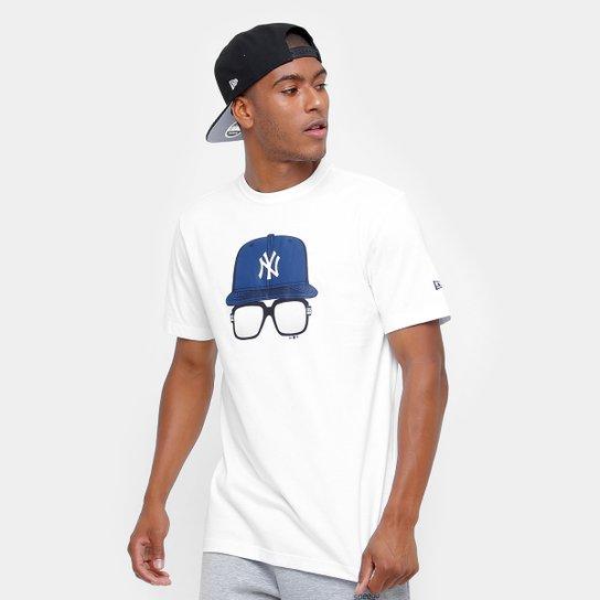 Camiseta MLB New York Yankees New Era 9 Cap Glasses Masculina - Branco 459e3406cf7