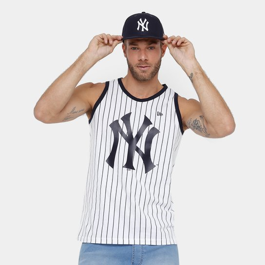 Camiseta Regata New York Yankees New Era 6 Stripes Masculina - Branco 8aab01bfc16