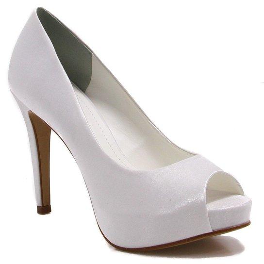 07f8804685 Sapato Peep Toe Zariff Shoes Noivas - Branco - Compre Agora