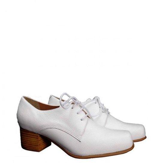 84cabf0c469 Sapato Casual Couro Dina Mirtz Quadrado Feminino - Branco - Compre ...