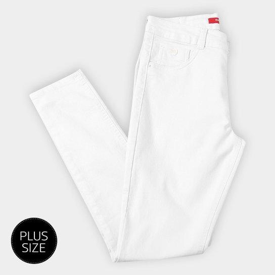 3fda8845a Calça Sarja Skinny Biotipo Básica Cintura Alta Alice Plus Size Feminina -  Branco