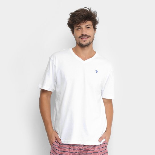 50d2d39aa Camiseta U.S. Polo Assn Gola V Masculina - Branco - Compre Agora ...