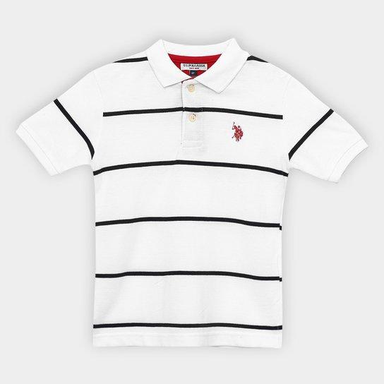 Camisa Polo Infantil U.S.Polo Assn Listrada Masculina - Branco ... 46e67c1760889