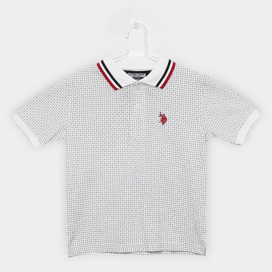 Camisa Polo Infantil Polo U.S.POLO Assn Estampada Mini Print Masculina -  Branco a7cfc04afdcbd