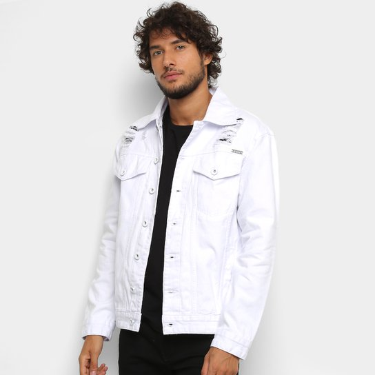 35d9a64c9fdd Jaqueta Jeans Zune Destroyed Total White Masculina | Zattini