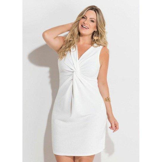 85ed73fa0b Vestido Branco Detalhe de Nó Quintess Plus Size - Branco