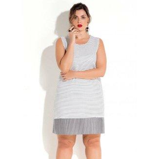 bb53941130 Vestido Quintess sem Mangas Listrado Plus Size