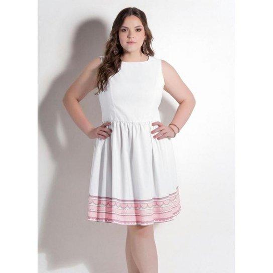 a6ddb88f3e Vestido Plus Size Evasê Branco e Rosa Quintess - Branco - Compre ...