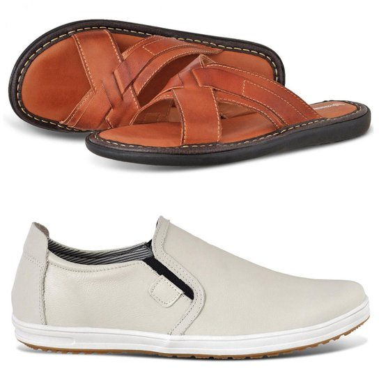 d42d6c0c935 Kit Chinelo em Couro + Sapatênis Masculino Casual Vicerinne - Compre ...