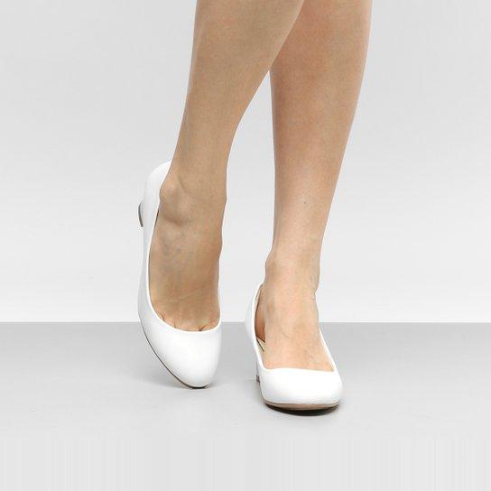 6a3a773d48 Scarpin Facinelli Salto Grosso Básico - Branco - Compre Agora