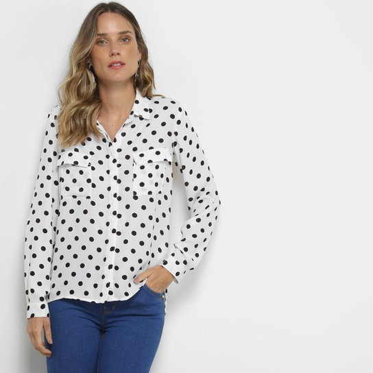 dd6a400c2e Camisa Facinelli Poá Manga Longa Feminina - Compre Agora