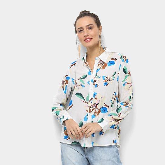 d9191351df Camisa Facinelli Estampada Floral Manga Longa Feminina - Branco