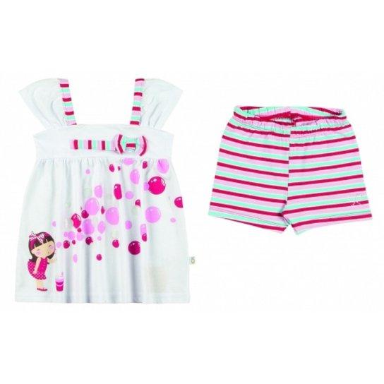 40b8676f15 Conjunto Infantil Boca Grande Bata e Shorts Feminina - Branco