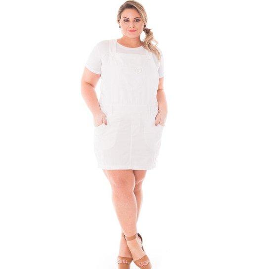0f6a196fc Jardineira Confidencial Extra Plus Size Salopete de Sarja Feminina - Branco
