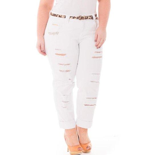 0030c4fc8 Calça Confidencial Extra Plus Size Jeans Rasgada Feminina | Zattini