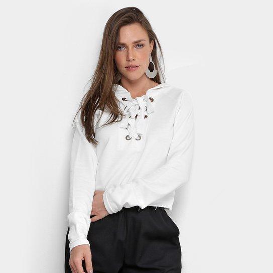 11d02378ff Blusa De Moletom MS Fashion Capuz Feminina - Branco