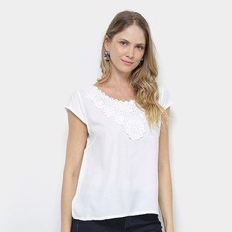 500b98ec13 Blusa com Renda MS Fashion Manga Curta Feminina