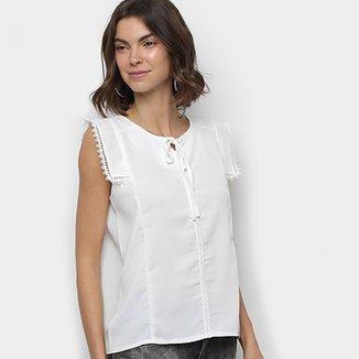 367b10252d Blusa MS Fashion Renda Amarração Feminina