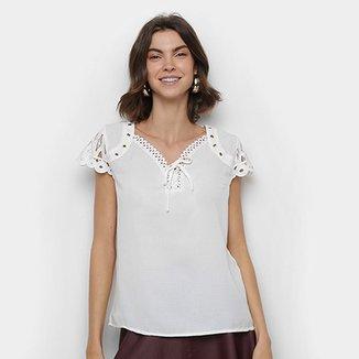 Blusa MS Fashion Detalhe Renda Amarração Feminina ff87cc37695