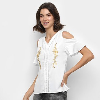 cae94a1193 Blusa MS Fashion Bordada Recortes Feminina