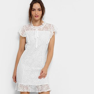287152b093 Vestido MS Fashion Peplum Curto Renda
