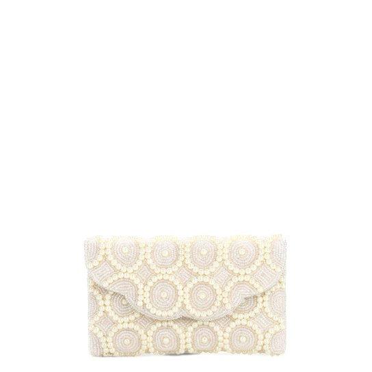 10dbc8a107 Bolsa Pashmina Clutch Pérola Branca Feminina - Compre Agora