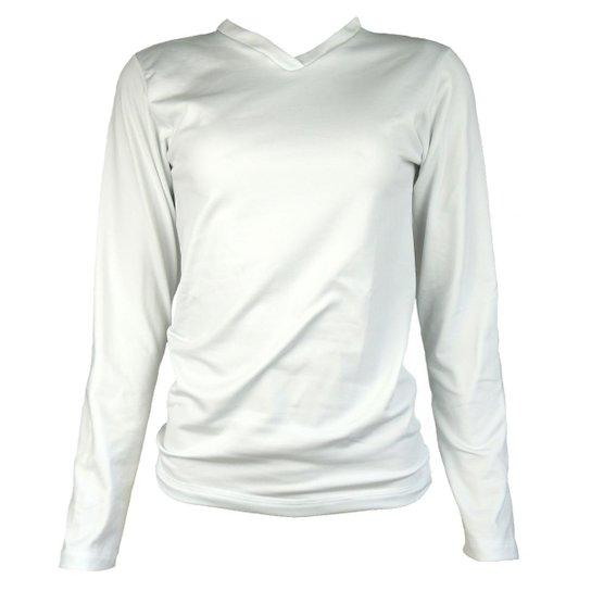 605e73351 Camisa Térmica Feminina Segunda Pele Gola V Thermo Premium - Branco ...