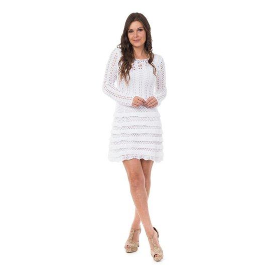 ead28efd08 Vestido Pink Tricot Curto Manga Longa Babados Feminino - Branco