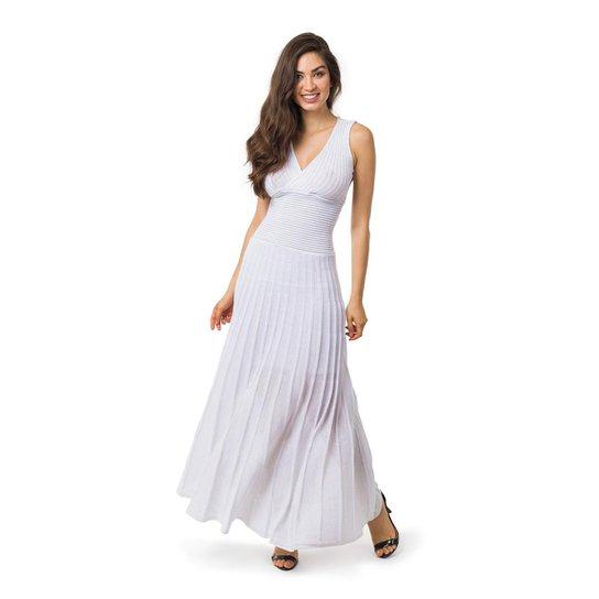 247a3d6f7b Vestido Pink Tricot Longo Plissado Com Lurex Liso Feminino - Branco
