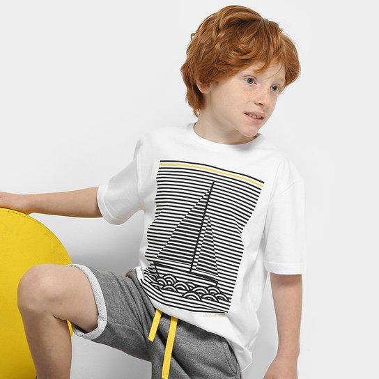 Conjunto Infantil Milon Camiseta e Bermuda Moletom Masculino - Branco+Cinza 56e9d3e1541