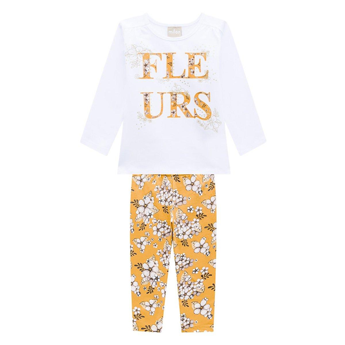 Conjunto Infantil Milon Blusa Manga Longa E Legging Floral Feminino