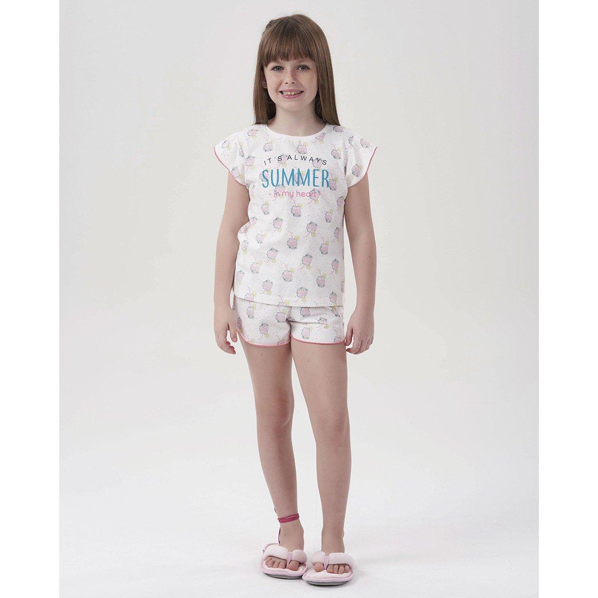 Pijama Infantil Cor Com Amor Shorts Doll Summer Feminino